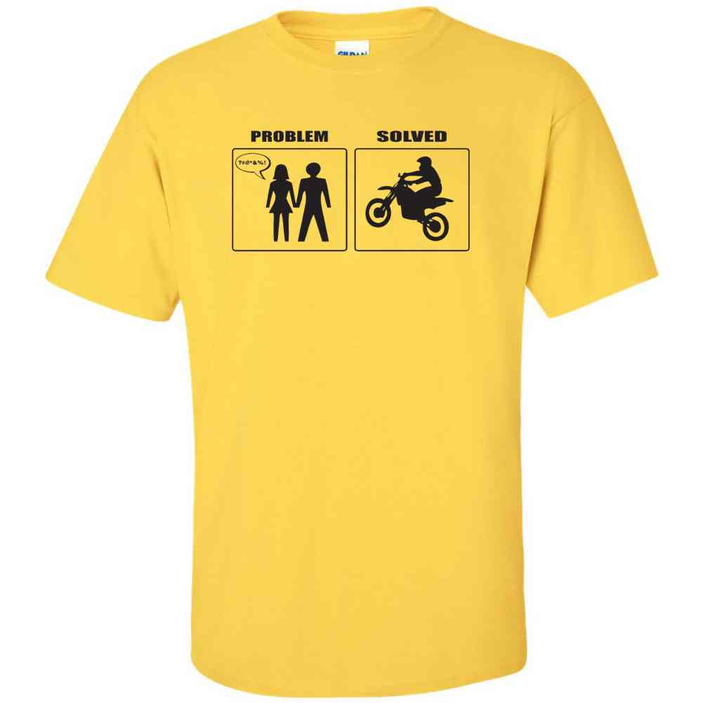 Problem solved motocross funny mx hilarious relationship for T shirt graphics for sale