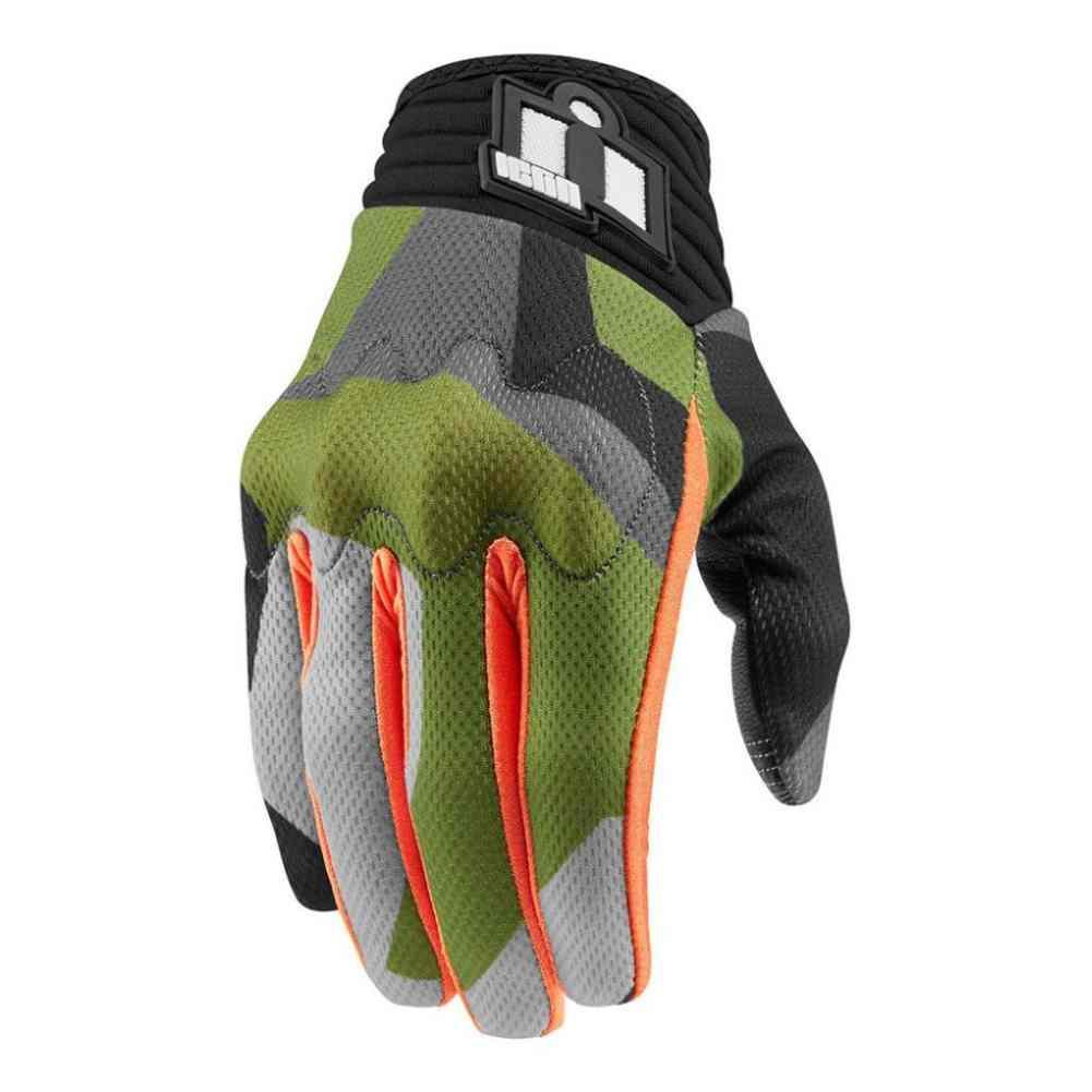 Sport Motorcycle Gloves: Icon Racing Anthem Deployed Camo Mens Street Sport Bike