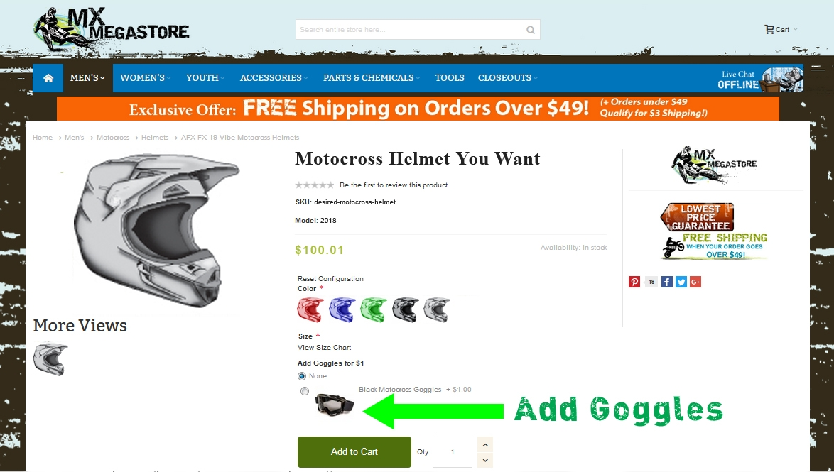 If the goggles are not visible under the size selector then the deal is not currently available for that helmet.