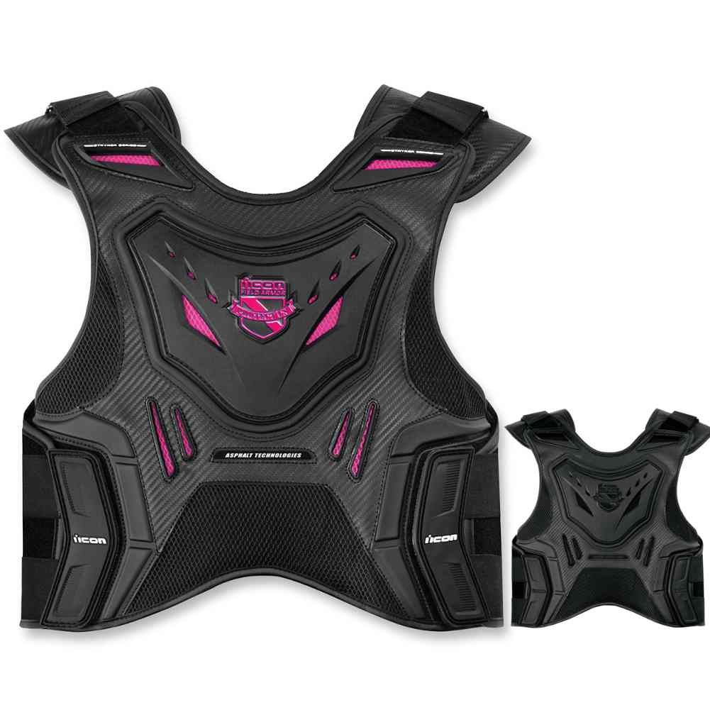 Womens Icon Black and Pink Field Armor Stryker Motorcycle Vest