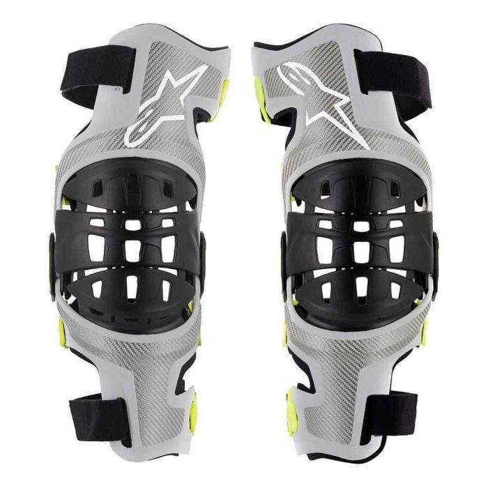 Small Silver//Yellow Alpinestars Mens Bionic-7 Off-Road Motocross Knee Brace Set