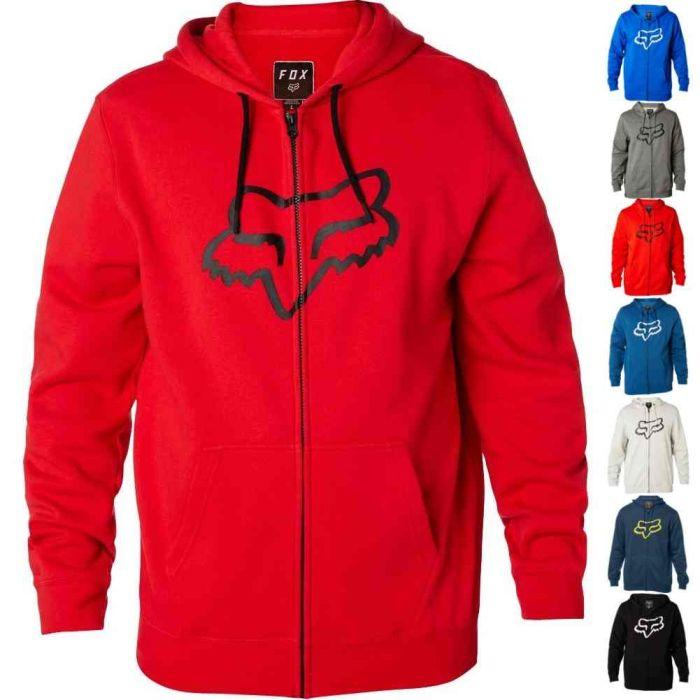 Fox Racing Men/'s Legacy Sherpa Lined Zip Up Hoodie Foxhead Motocross Logo Hoody